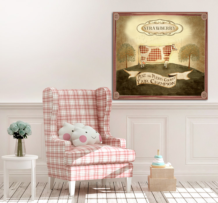 children's room cow red strawberry