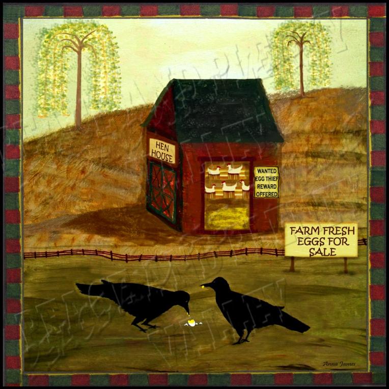 crows prim folk art crow