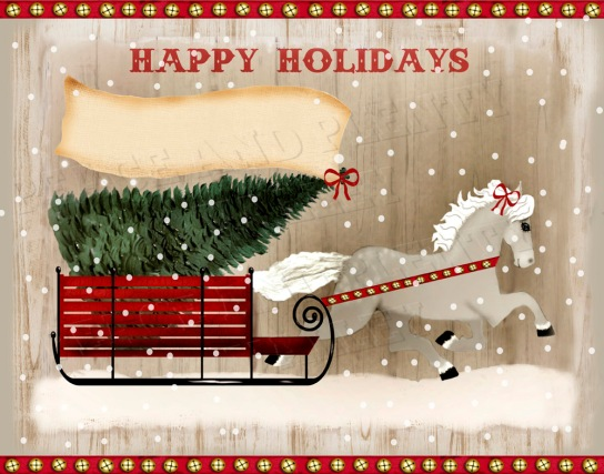 folk art horse christmas BELLS BLANK FLAG