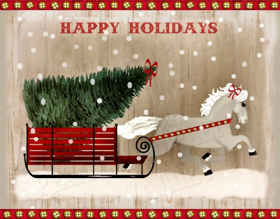 folk art horse Christmas BELLS NO FLAG