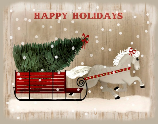 folk art horse Christmas NO FLAG