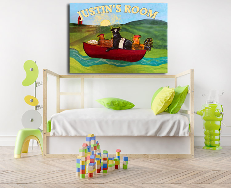 Empty children's room with a wooden cot and a white wall in the