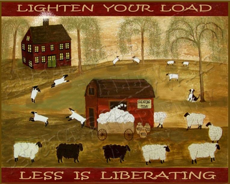 primitive folk art sheep barn country